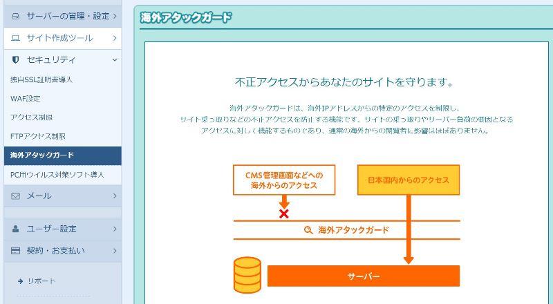 ロリポップで海外アタックガードの設定を無効化する方法:管理画面「セキュリティ」>「海外アタックガード」からドメインを選択